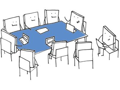 Illustration einer Seminar-Szene